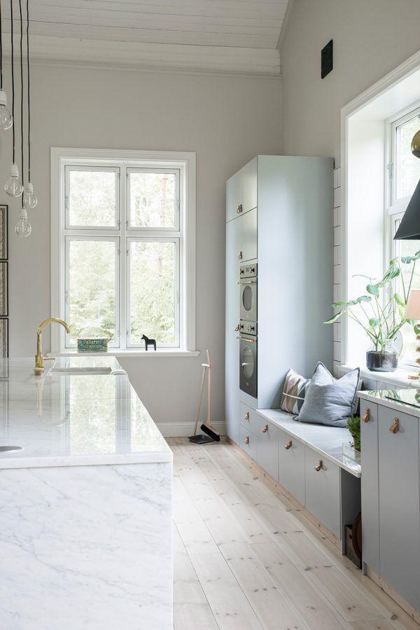 Kitchen marble brass grey