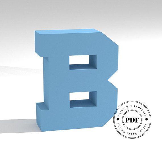 Printable Diy Template Pdf Letter B Low Poly Paper Model Etsy Diy Printables Paper Models Letter Paper