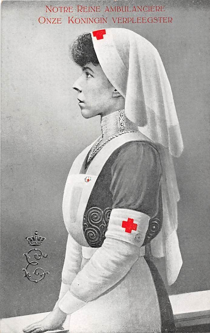 Queen Elizabeth of Belgium in a Red Cross Uniform