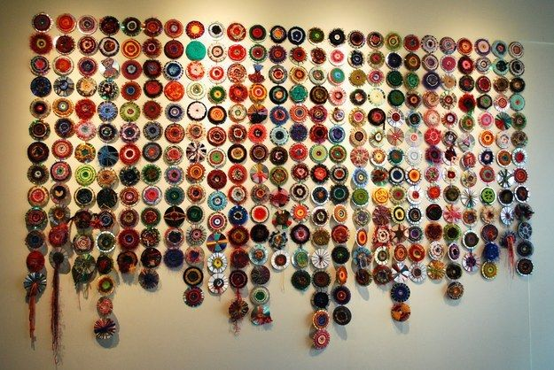 Start a long term project yarn bombing old CDs. | 27 Ideas For Kids Artwork You Might Actually Want To Hang