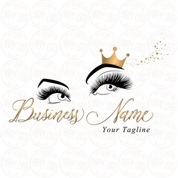 Digital Custom Logo Design Lashes Logo Crown Lash Beauty Logo