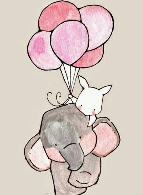 animals, ball, colors, cute, drawing, elephant, pink, rabbit