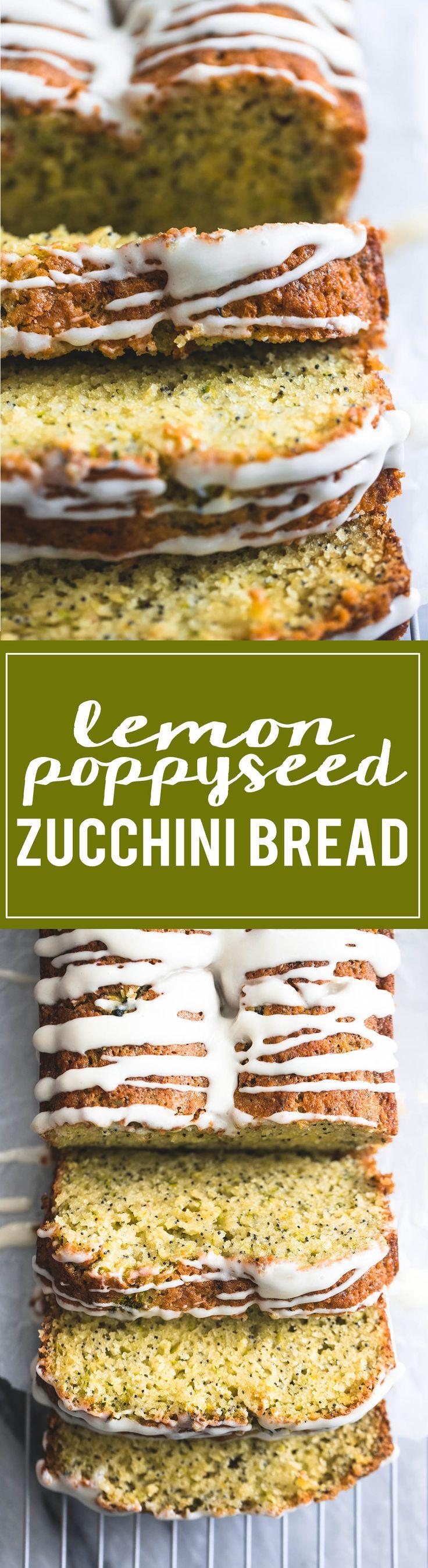 Super moist Lemon Poppyseed Zucchini Bread with lemon cream cheese glaze | lecremedelacrumb.com