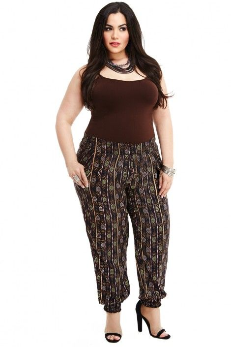 Soshanna Tribal Print Pants #plussizepants