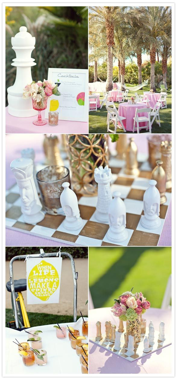 Parker Palm Springs wedding we designed with chess pieces integrated into cocktail hour. Channeling the tongue in cheek of Mr Jonathan Adler himself!  Designed by Canvas & Canopy Events.. www.canvasandcanopy.com; Flowers by JL Designs; Photography: Sarah Yates