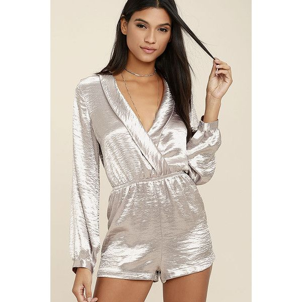 Dream Chaser Silver Long Sleeve Romper ($58) ❤ liked on Polyvore featuring jumpsuits, rompers, silver, long sleeve romper, metallic romper, playsuit romper, long-sleeve romper and surplice romper