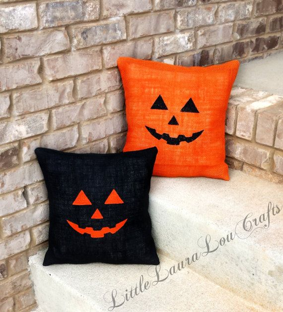 Jack-O'Lantern Burlap Pillow OR Just the by LittleLauraLouCrafts