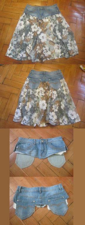 Jeansrock aus einer alten Jeans und schönem Stoff selber machen.
