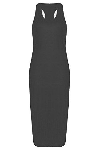 5bbecc936c Be Jealous Ladies Womens New Stretchy Sleeveless Muscle Racer Back Long  Plain Midi Vest Dress M