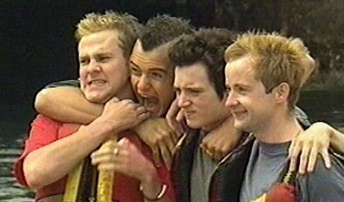 I love how Dominic looks like he's being strangled by Orlando, Elijah looks annoyed and Billy's just like, *smile*!