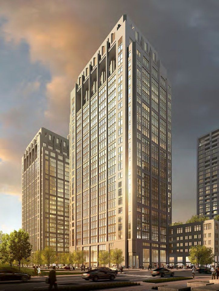 Twin residential towers and another set of twin office towers are proposed by Clayco for the block that was home to Stage Center. Richard A.M. Stern Architects  <strong></strong>