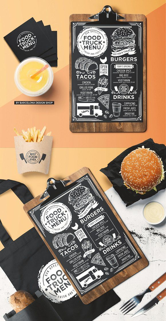 Carte De Visite Food Truck Blackboard Menu By BarcelonaShop On Creativemarket Design Ciezarowki Z Zywnoscia