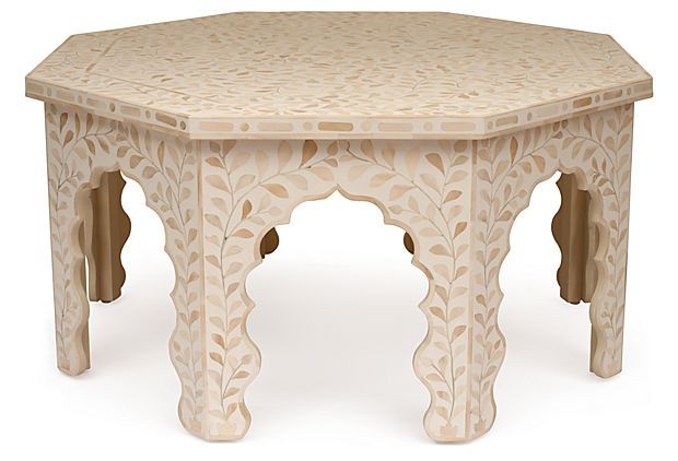 Mother Of Pearl Coffee Table With Stools