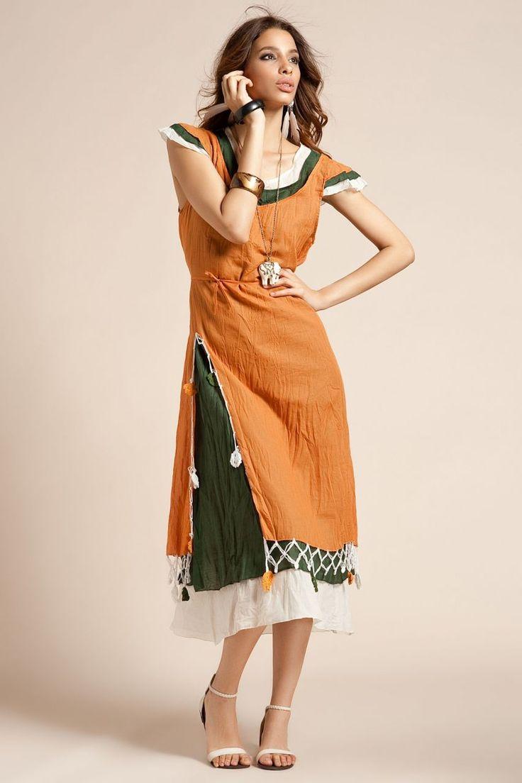 Otantik Kekova Elbise - Orange