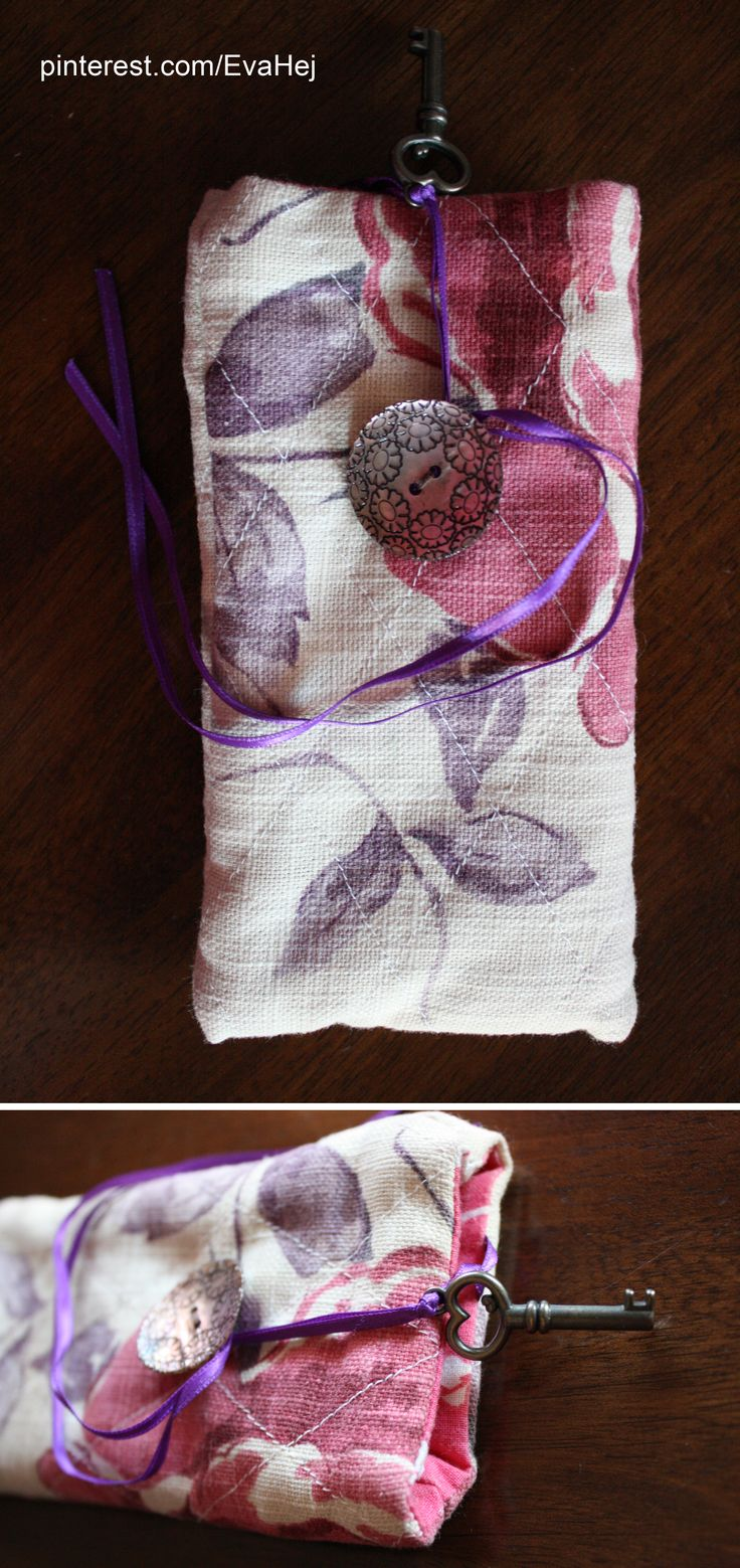 Fabric phone case that closes with a ribbon