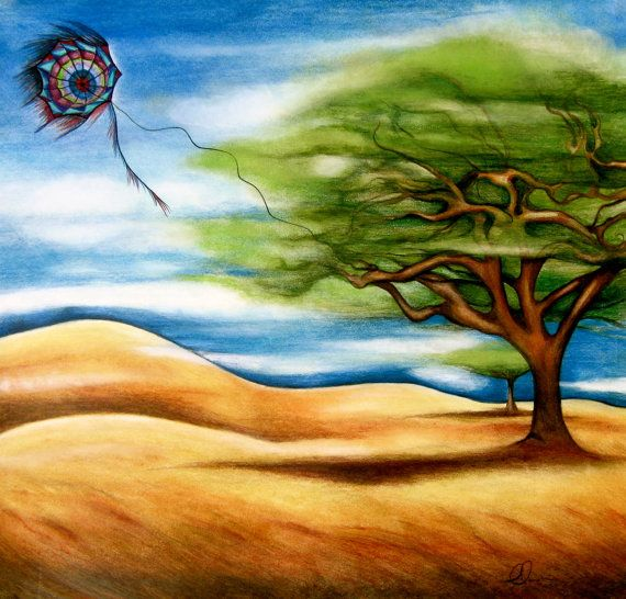 Image result for painting of a sad kite tangled in a tree