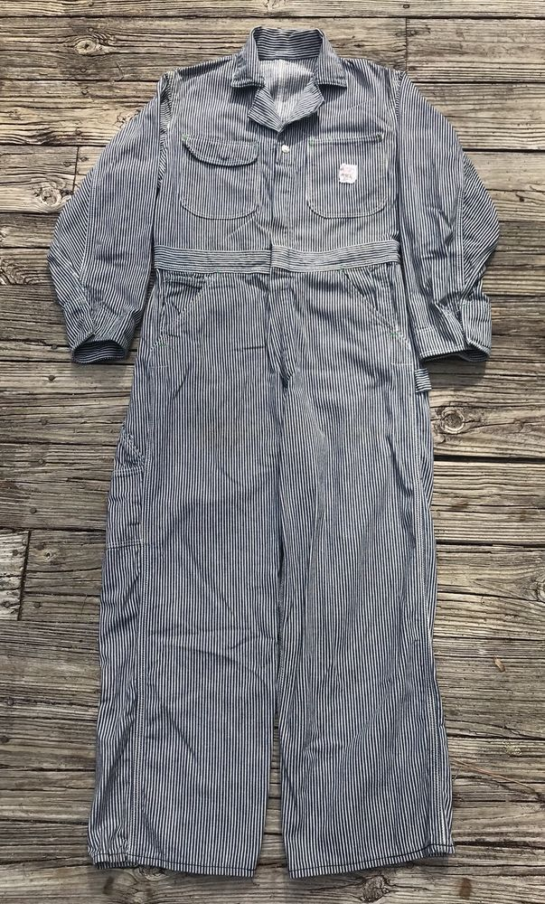 POINTER BRAND Vintage Pinstripe Sanforized Denim Work Coveralls Men's M 32x28 #PointerBrand