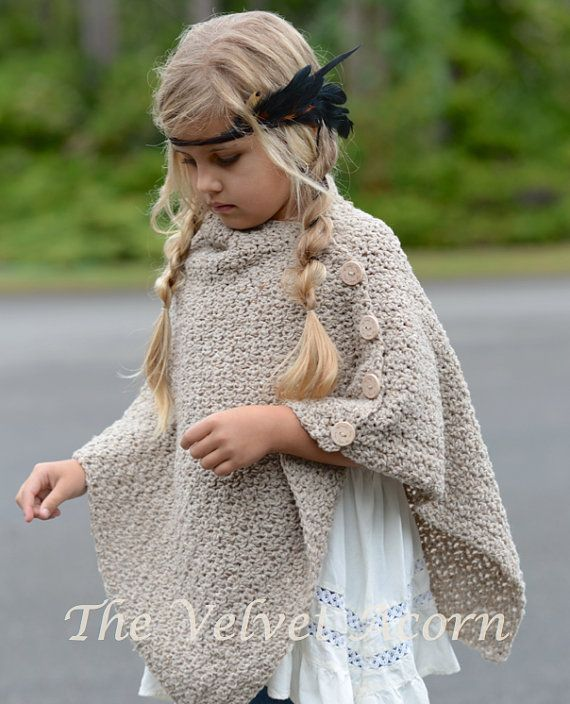 CROCHET PATTERN-The Timberlyn Poncho toddler by Thevelvetacorn