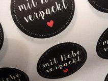 """10 x """"mit Liebe verpackt"""" Aufkleber Etiketten"""