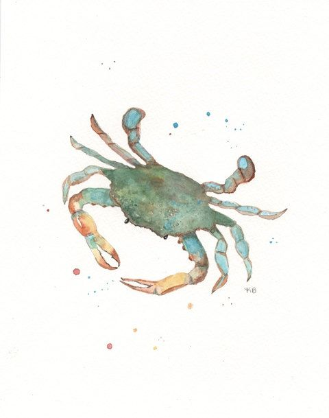 Blue Crab/teal blue green yellow/8x10 Watercolor by kellybermudez, $15.00