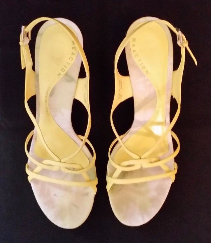Kenneth Cole Reaction Strappy Yellow High Heels Size 10M #KennethColeReaction #Strappy
