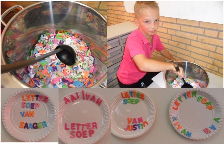 lettersoep:ook héél goed te maken met de inhoud van een ( oude) letterdoos. milieuverrijking in de poppenkamer