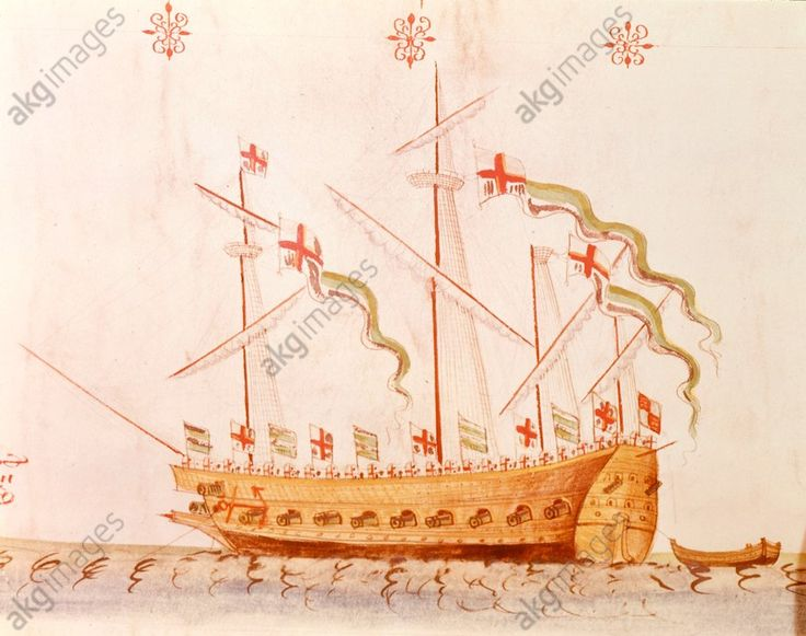 "Navire de guerre anglais ""The Antelop"".  Aquarelle sur parchemin. In : Anthony Anthony, Roll of the Galleys of Henry VIII. (Rouleau avec représentations des navires de Henri VIII d'Angleterre)."
