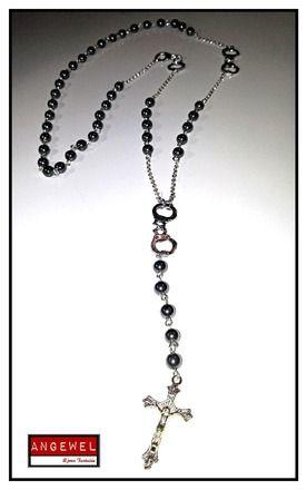 Collier façon chapelet menottes   perles ématite