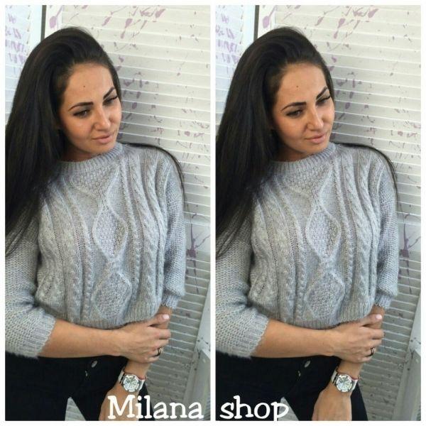 Свитер вязанный теплый женский укороченный серый