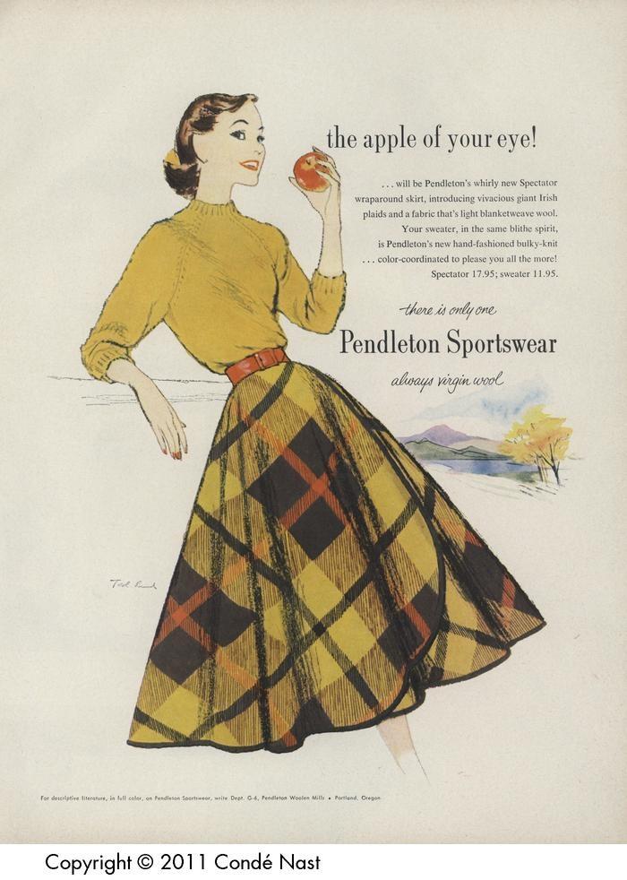 Vogue Aug 1, 1956   Pendleton spectator wrap around skirt and bulky knit sweater