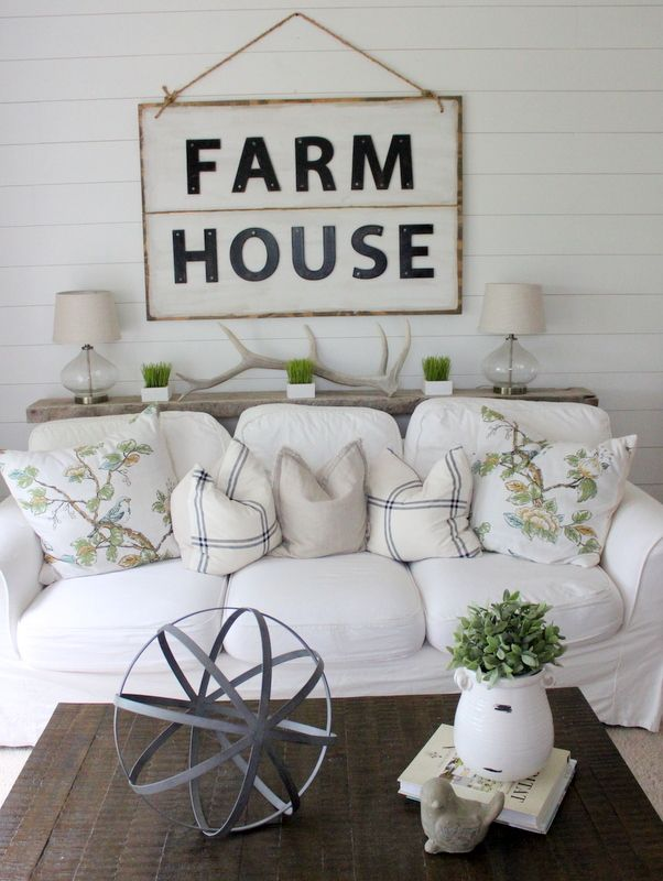 FARM HOUSE SIGN: chip board letters from hobby lobby, sprayed them, distressed them, and then glued and nailed them on to some painted plywood