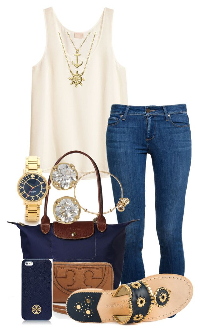 :) by preppiikygirl on Polyvore featuring H&M, Paige Denim, Jack Rogers, Longchamp, Kate Spade, Hoorsenbuhs, Alex and Ani, Bling Jewelry and Tory Burch