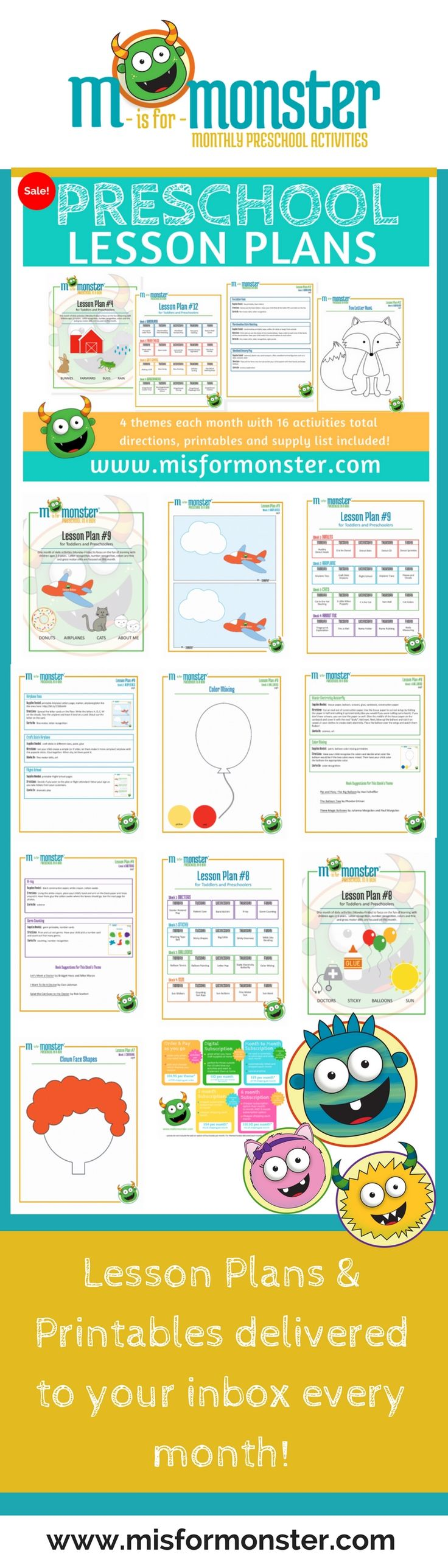 Preschool Lesson Plans from M is for Monster delivered right to your email every month. 4 themes each month with 16 activities total. You get the lesson plans, printables and supplies list delivered to your inbox every month!