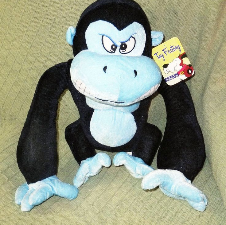 """NWT Blue Gorilla 19"""" Toy Factory New With Tag Navy & Baby Blue Ape Chimp Plush  #ToyFactory"""