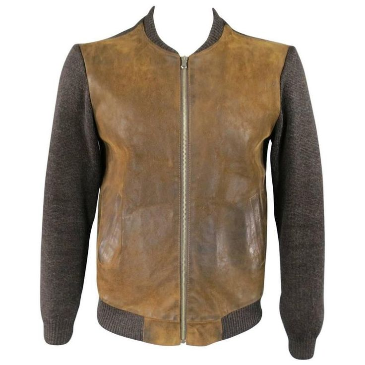 Men's MAISON MARTIN MARGIELA S Brown Leather & Wool Bomber Jacket | 1stdibs.com