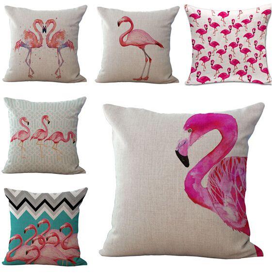 Moda hot pink flamingo capa de almofada pássaro tropical sofá thorow de cadeira fronha sofá almofadas cojines