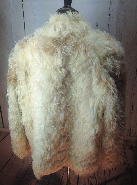 SALE Vintage Goat Fur Cream Jacket Size Medium 6-10