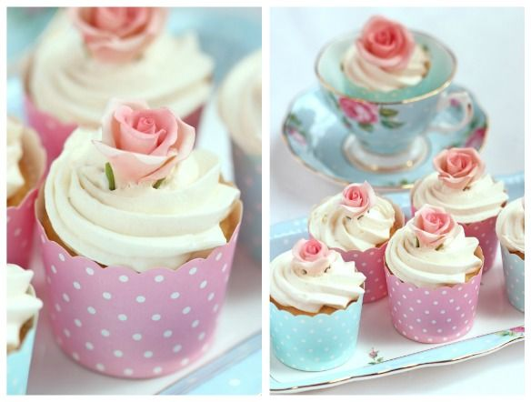 Love and adore the Royal Albert tea setting =) xx: Tea Party Cupcakes, Recipes, Rose Cupcake, Paper Baking, Baking Cups