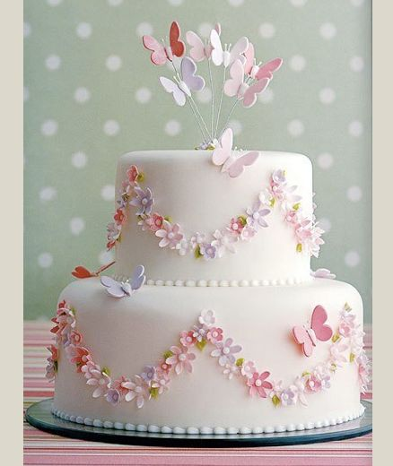 Wedding cake with butterflies and flowers. Instead in own wedding colours and wedding cake topper