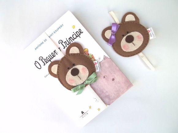 Marcador de página urso em feltro | Atelier Encanto e Arte | Elo7
