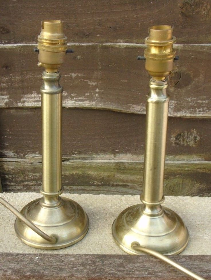 """Pair of Brass Coloured Lamp Bases. BHS British Home Stores. 10.5"""" Set Two 