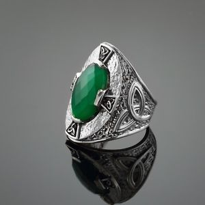 silver and black wolf | 925 Sterling Silver Green Agate Stone Celtic Trinity Ring | eBay