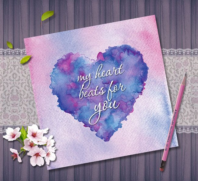 Love Heart Printable Greeting Card, Valentines Day Card Digital Instant Download, Colorful Watercolor Art, Romantic Card, My Heart Beats by NopiArtStudio on Etsy