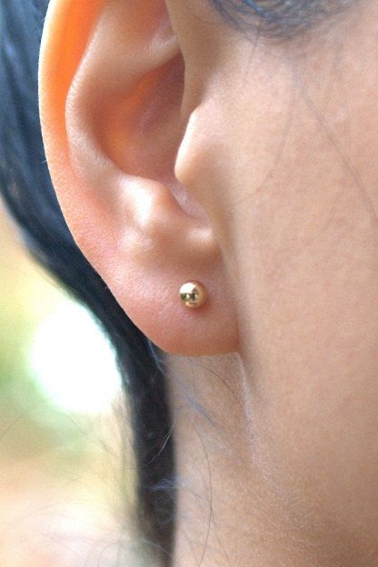 Gold Earrings Stud Filled 4mm Post Ball
