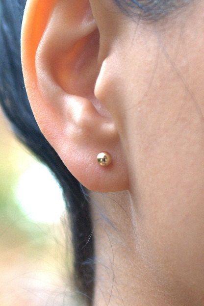 Gold earrings - gold stud earrings, gold filled earrings, 4mm post earrings, ball earrings,stud earrings,gold  earrings. $14.00, via Etsy.