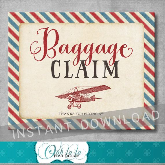 Baggage Claim Sign  Vintage Airplane Baby by OohlalaPoshDesigns