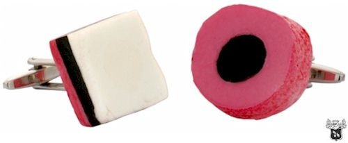 Liquorice allsorts (english) pink cufflinks by Nuts & Noble