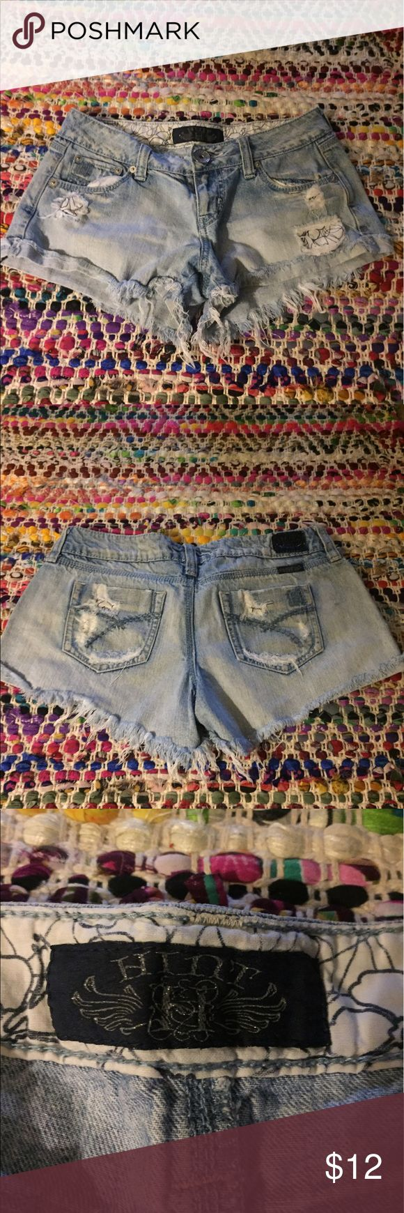 Blue jean daisy dukes short shorts Short lined distressed jean shorts. Cuffed with. Ely loops.. would be so cute with a flannel and combat boots or a cute loose fitting crop top t shirt!! Shorts Jean Shorts