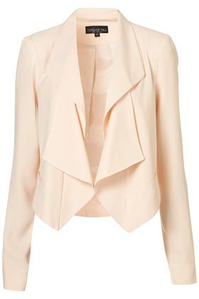Waterfall lapel cream jacket via topshop. Easily tops off any evening ensemble for Spring and Summer.