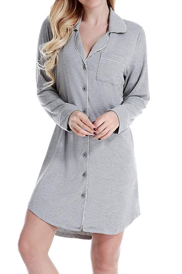 05188b6dc5a NORA TWIPS Womens Sleepwear Shirts Long Sleeve Pajama Dress Button-Front  Nightshirt at Amazon Women's
